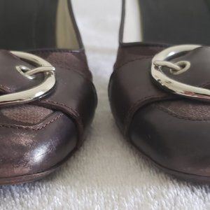Coach Shoes - Coach brown signature leather canvas pumps 8.5
